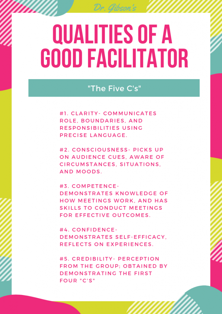 infographic describing the qualities of a good facilitator.