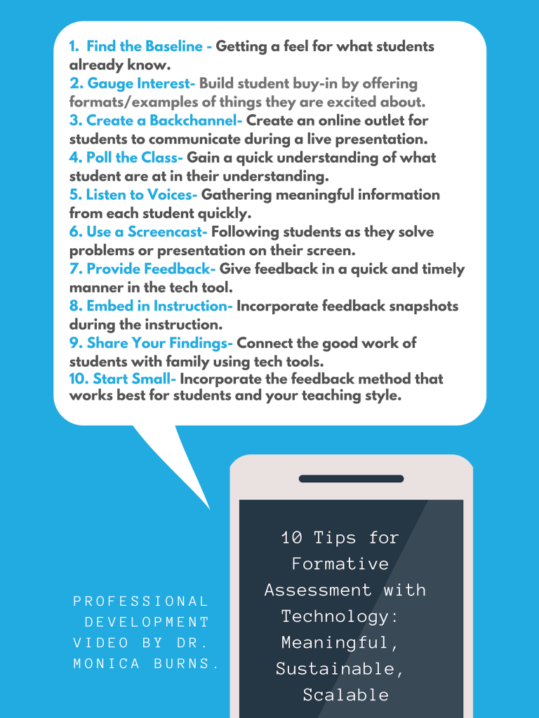 infographic on tips for incoporating technology tools with formative assessment.